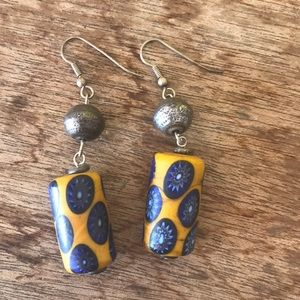 Murano Italy Drop Earrings, Yellow Blue Handmade